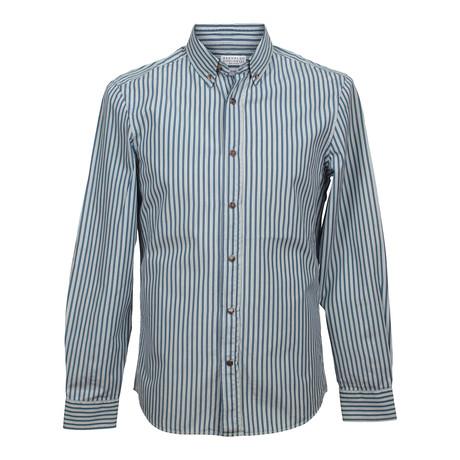 Blue Long Sleeve Slim Fit Shirt // Blue (XS)