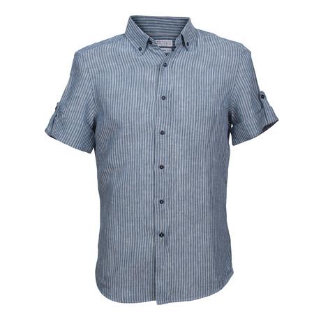 Linen Chambray Short Sleeve Shirt // Blue (XS)