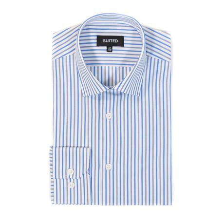 Dawson Business Dress Shirt // White + Gray + Blue (US: 14.5A)