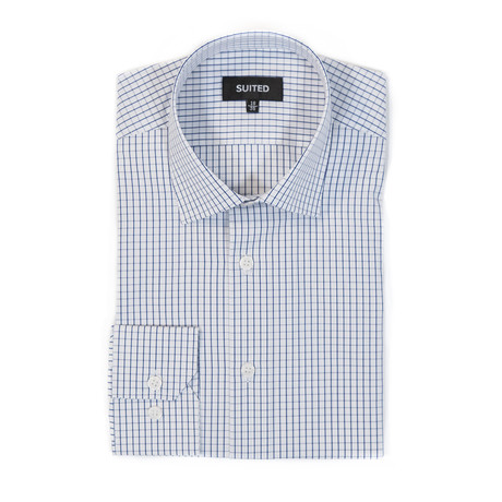 Miles Business Dress Shirt // White + Navy (US: 14.5A)