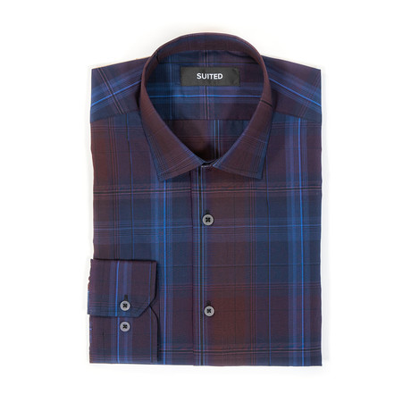 Pace After-Hours Dress Shirt // Blue + Burgundy (S)