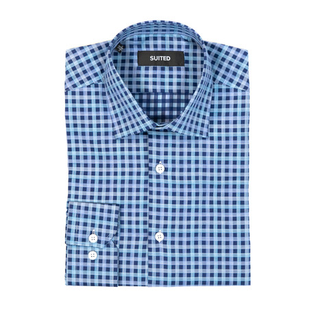 Mayo Business Dress Shirt // Navy + Blue (US: 14.5A)