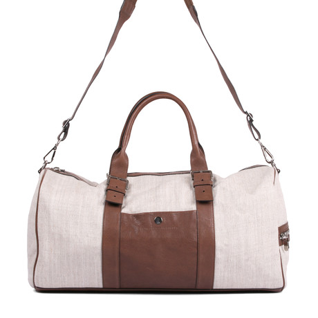 Two-Tone Duffle Travel Bag // Tan + Brown
