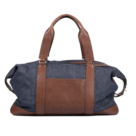 Two-Tone Duffle Travel Bag // Denim Blue + Brown
