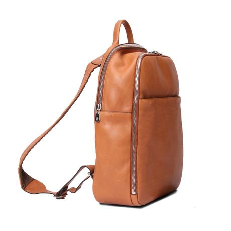 Leather Logo Backpack // Cognac