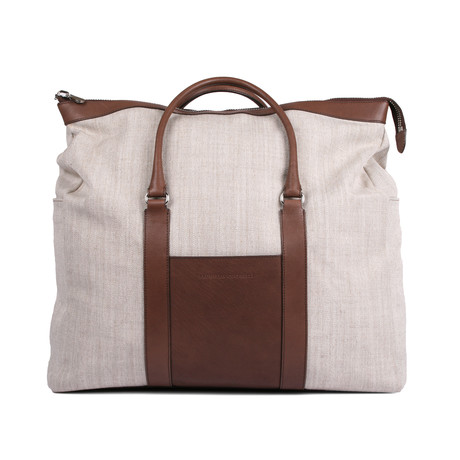Two Tone Travel Tote // Tan + Brown