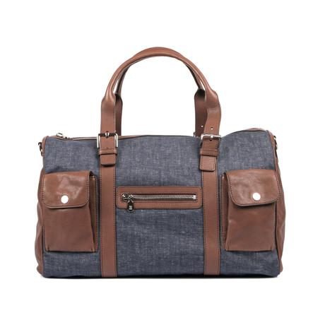 Two-Tone Duffle Travel Case // Denim Blue + Brown