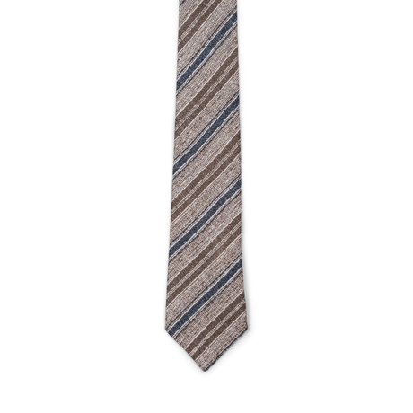 Two Tone Stripe Silk Tie // Brown + Blue