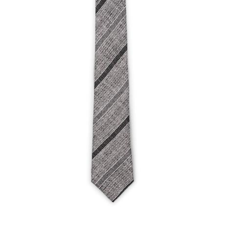 Two Tone Stripe Silk Tie // Gray