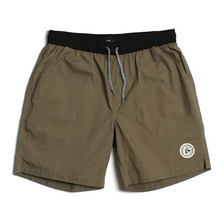 Seeker Tub Volley Swim Shorts // Olive + Black (S)