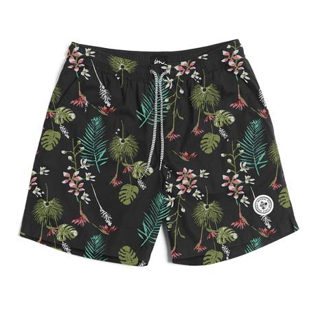 Seeker Tub Volley Swim Shorts // Black Jungle (S)
