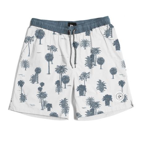 Seeker Tub Volley Swim Shorts // White + Indigo (S)
