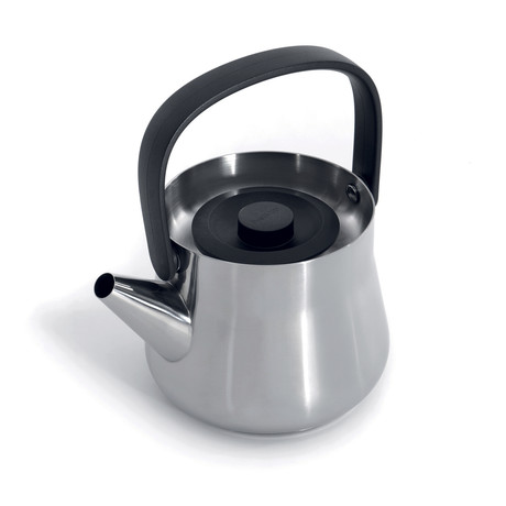 Teapot + Strainer (Silver + Black Handle)