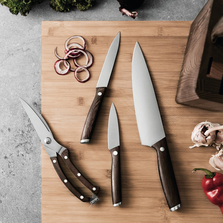 Rosewood Stainless Steel Cutlery Set + Block