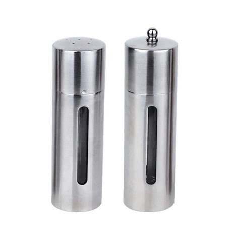 "Essentials 7"" Stainless Steel Round Salt & Pepper Set"