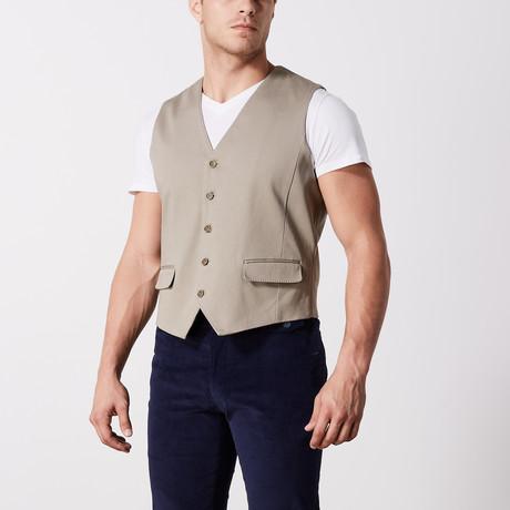 Stretch Cotton Vest // Khaki (S)