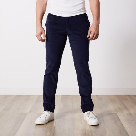 Corduroy Slim-Fit Pants // Navy (30WX32L)
