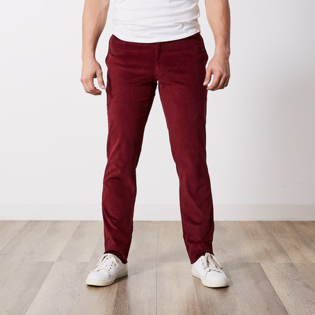 Corduroy Slim-Fit Pants // Burgundy (30WX32L)