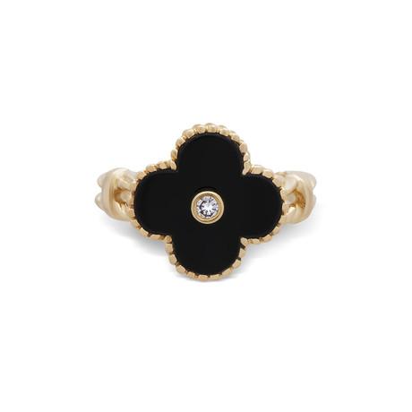 Vintage Van Cleef & Arpels 18k Yellow Gold Vintage Alhambra Diamond + Onyx Ring // Ring Size: 7.25