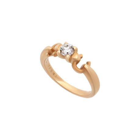 Vintage Chanel 18k Yellow Gold Diamond Ring // Ring Size: 6