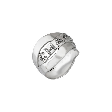Vintage Chanel 18k White Gold Diamond Ring // Ring Size 8.25