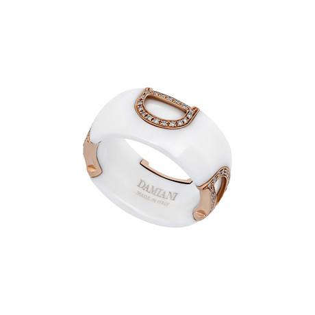 Vintage Damiani 18k Rose Gold White Ceramic D Icon Diamond Ring // Ring Size: 7.25