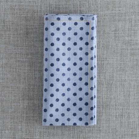 Pocomo Pocket Square // Light Blue Chambray + Navy Dot