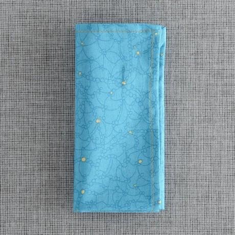 Lightning Bug Pocket Square // Blue + Yellow Floral