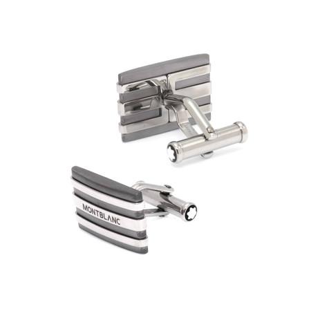 Montblanc Meisterstuck Rectangular Tantalum + Stainless Steel Cufflinks // 101535