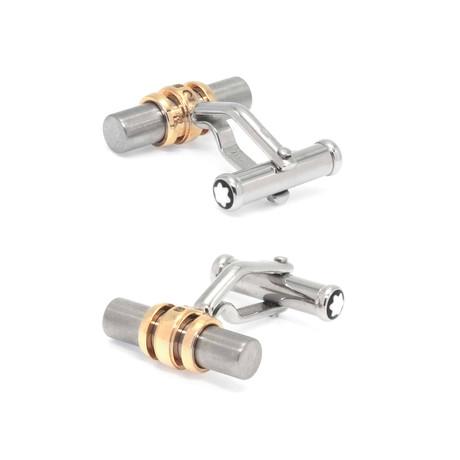 Montblanc 18k Yellow Gold + Stainless Steel Cufflinks // 102690