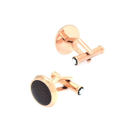Montblanc Gold Plated Stainless Steel Black Guilloche Cufflinks // 112903