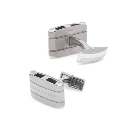 Montblanc Stainless Steel + Titanium Rectangle Cufflinks // 107904