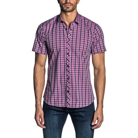Short Sleeve Button-Up Shirt // Purple Gingham (S)