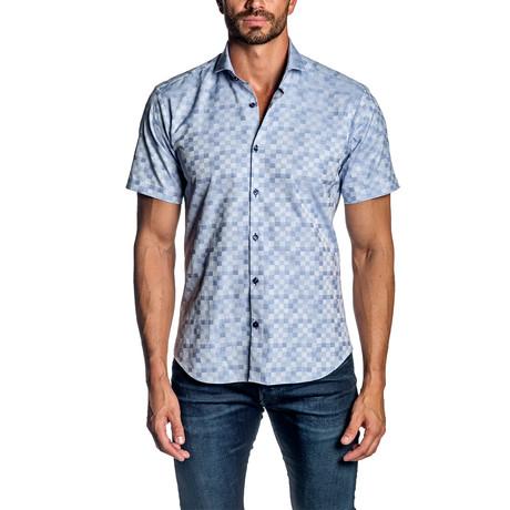 Short Sleeve Button-Up Shirt // Blue Jacquard (S)