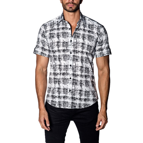 Distressed Short-Sleeve Button-Up Shirt // Black + White (S)