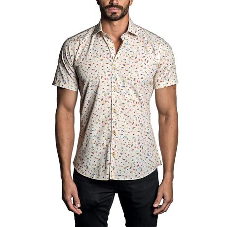 Short Sleeve Button-Up Shirt // Beige Fish + Seashells (S)