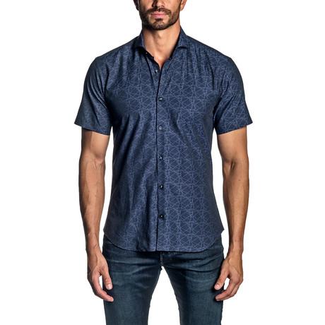 Short Sleeve Button-Up Shirt // Blue Geometric (S)