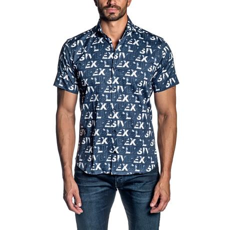 Short Sleeve Button-Up Shirt // Navy Print (S)