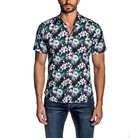 Floral Short Sleeve Button-Up Shirt II // Navy (S)