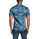 Short Sleeve Button-Up Shirt // Blue Faces (XS)