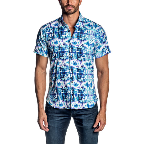 Short Sleeve Button-Up Shirt // Tie Dye (S)
