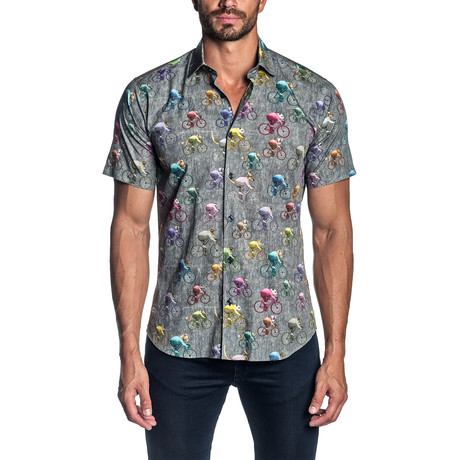 Short Sleeve Button-Up Shirt // Grey + Multi Bikes (S)