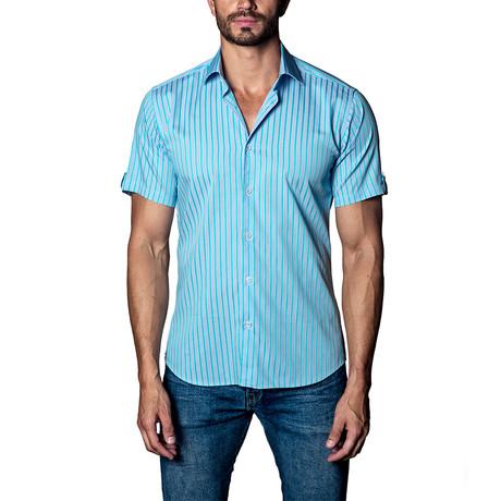 Short Sleeve Button-Up Shirt // Blue + Teal Print (S)