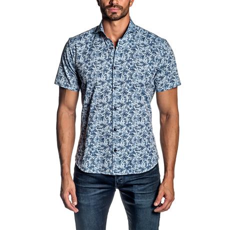 Short Sleeve Button-Up Shirt // Light Blue Print (S)