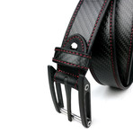 "Carbo Six Belt // Black + Red Stitching (28"")"