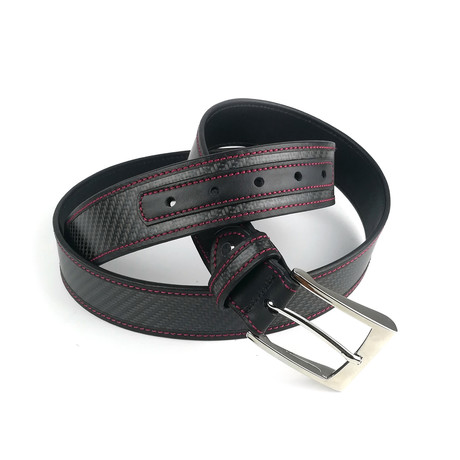 "Heritage Carbon Belt // Black + Red Stitching (28"")"