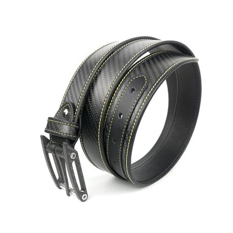 "Carbo Six Belt // Black + Yellow Stitching (28"")"