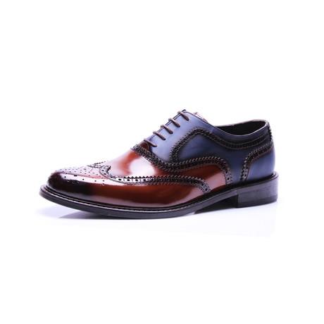Wing Tip Dress Shoes // Cognac, Dark Blue (Euro: 39)