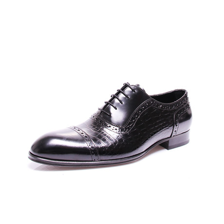 Cap Toe Dress Shoes // Black Croco (Euro: 39)