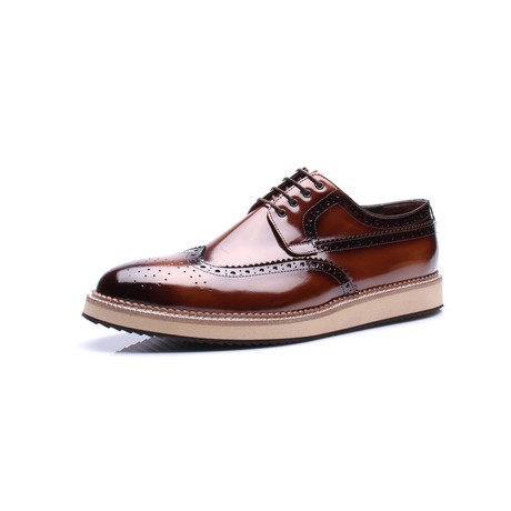 Wing Tip Patent Dress Shoes // Tobacco (Euro: 39)